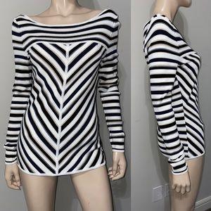 WHBM Stripe Long Sleeve Knit Top M